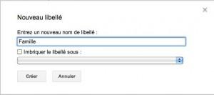 Fenêtre de création d'un nouveau libellé Gmail