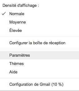 Les paramètres de gmail