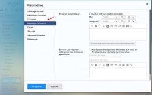 Sélectionner Message d'absence dans les paramètres yahoo