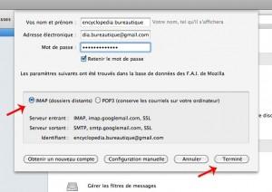 Vérifier qu'il s'agisse d'un compte gmail IMAP