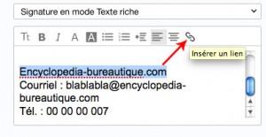 Insérer un lien vers un site/blog...