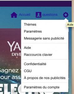 Fenêtre des paramètres YahooMail