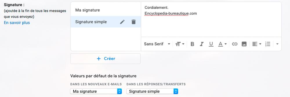 Gérer les signatures sous Gmail