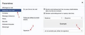 Onglet rédaction d'un mail