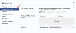 Paramètre rédiger un mail