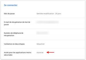 Activation de l'abaissement du seuil de sécurité à gmail