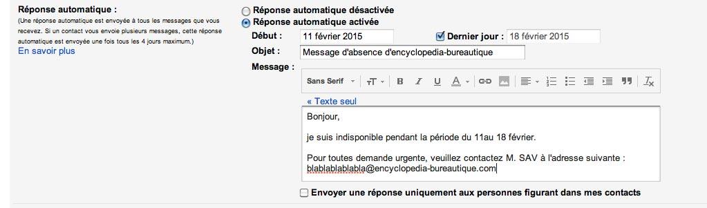 Comment cr er une r ponse d 39 absence automatique sous gmail - Message d absence de bureau ...