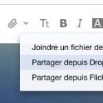 Envoyer une pièce jointe avec partage Dropbox