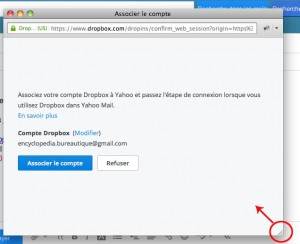 Validez l'association à dropbox