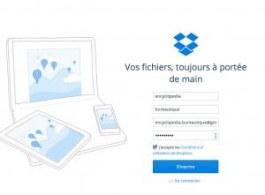 création d'un compte Dropbox gratuit