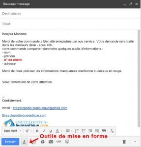 Barre d'outils de mise en forme du texte dans gmail
