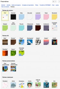 thèmes disponibles pour personnaliser l'arrière plan de gmail