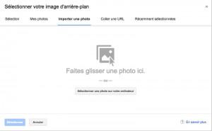 importer une photo pour changer l'arrière plan de Gmail