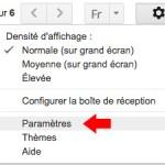 Accès aux réglages des paramètres de gmail