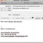 Votre signature intégrée à un nouvel email