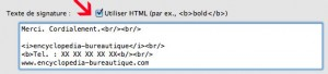 Composer un texte de signature sous thunderbird avec balises html : gras, italique et saut de ligne