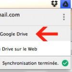 Menu d'accès au dossier Google drive