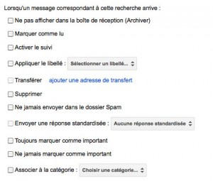 Liste des différentes actions possibles avec les filtres gmail