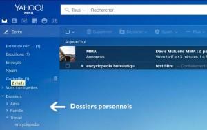 Organisation de vos dossiers de votre messagerie YahooMail