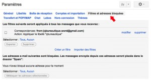 Gestionnaire des filtres gmail