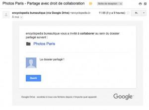 Mail reçu par votre contact l'avertissant qu'un dossier est partagé