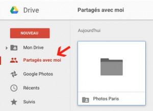 Dossier Partagé avec moi dans le Google Drive de votre contact