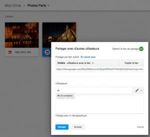 Partager un fichier avec un groupe de contacts sous drive