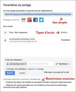Restrictions de partage fichier avancé
