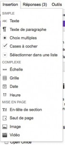 insertion type question du questionnaire