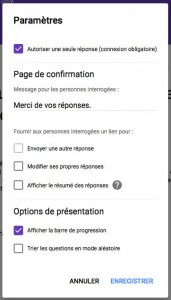 parametres de publication du sondage google forms
