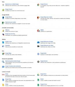 Services et produits Google