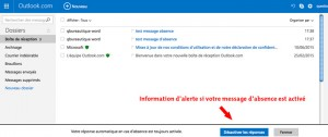 Désactiver le message d'absence automatique sous outlook