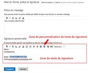 zone de texte de la signature