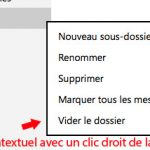 menu contextuel d'un dossier sous outlook