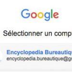 Sélection du compte gmail qui sera connecté avec Dropbox sous chrome