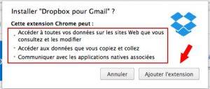 Droits d'accès de l'extension Dropbox pour GMail