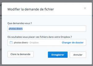 Modifier une demande de fichier Dropbox