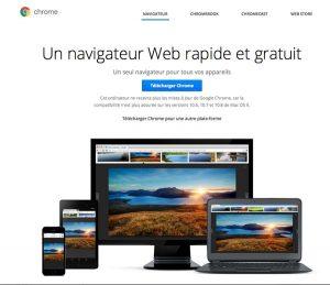 Page pour télécharger Google Chrome
