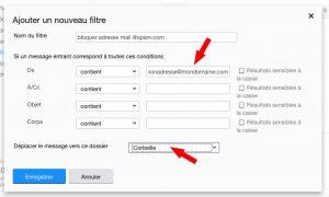 Filtrer une adresse mail pour la mettre à la corbeille avec YahooMail