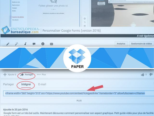 Ajouter une vidéo sous Paper et des pdf, des documents word/excel et slideshare…