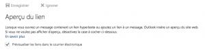 Aperçu des liens web dans un email