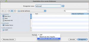 exporter un fichier adresse email thunderbird