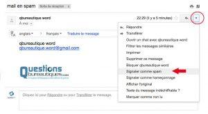 Mettre un email en spam sous gmail