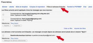 Liste des adresses bloquées sous Gmail.