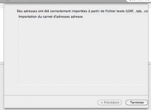 Terminer imports des contacts mail