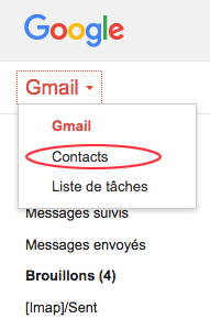 Trouver les contacts dans Gmail