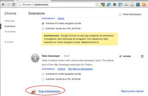 Accès pour ajouter de nouvelles extensions à Chrome