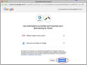 autorisation de connexion entre gmail et boomerang