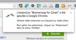 Confirmation de l'installation de boomerang for Gmail