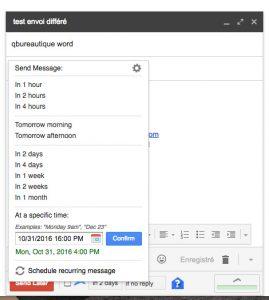 envoyer un mail un plus tard avec gmail